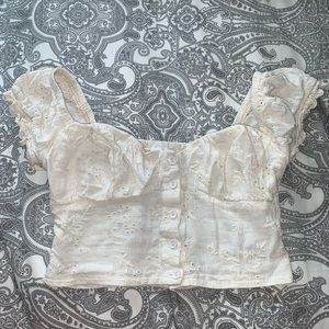 cream blouse/bustier top from boutique